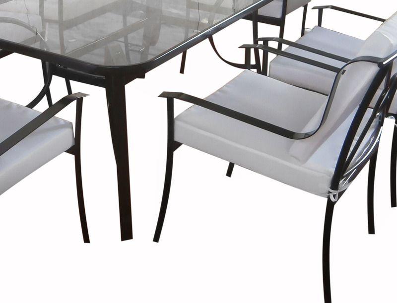 Arredamento Esterno Tavoli Giardino Set Tavolo Da Giardino 6 Sedie Ferro Con Tavolo In Vetro Esterno C G Home Design