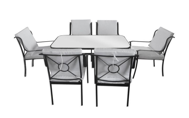 Tavoli E Sedie In Ferro Per Giardino.Set Tavolo Da Esterno Con Vetro 6 Sedie In Ferro Braccioli Arredo