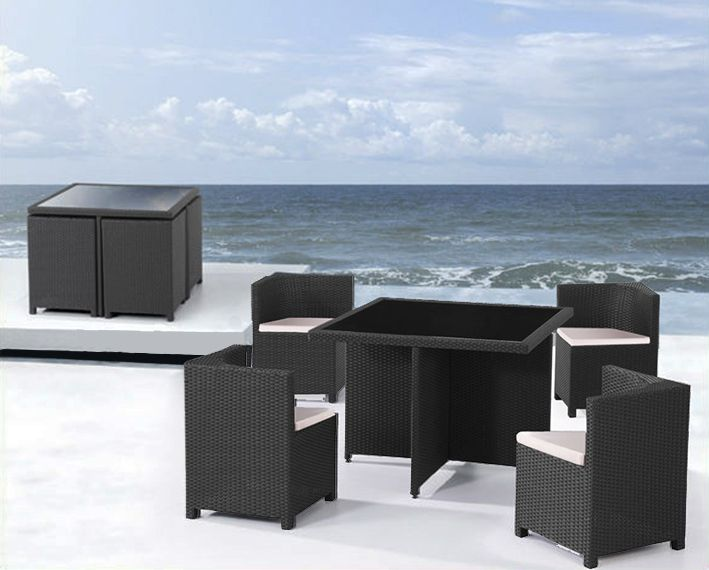Tavolo Rattan Con Sedie A Scomparsa.Table Chairs Rattan Black Chairs Sofa Furniture Garden Modern