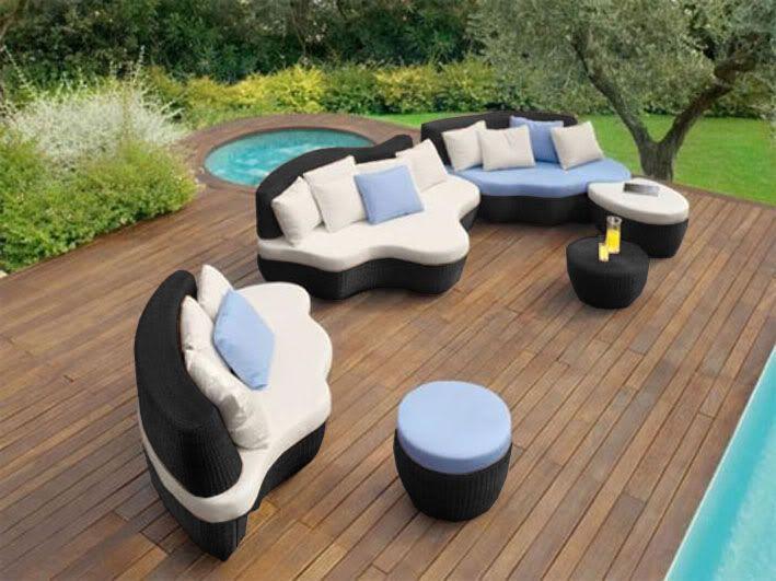 Divano Da Giardino Moderno Design.Divano Salotto Rattan Nero Design Moderno Arredo Giardino Esterno Tavolo Pouf Ebay
