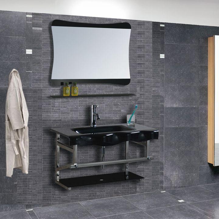 Arredo Bagno In Vetro.Mobile Arredo Bagno Completo Pensile 80cm Vetro Lavabo Specchio Rubinetto Italia Ebay