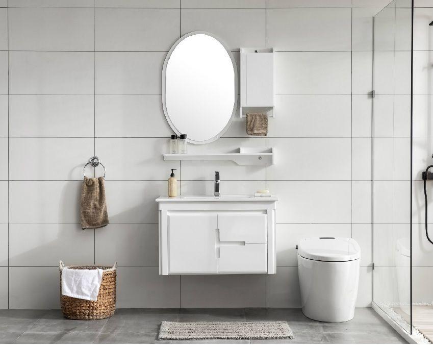 Mobile Bagno Arredo Bagno Completo Bianco 80cm Specchio Rubinetto