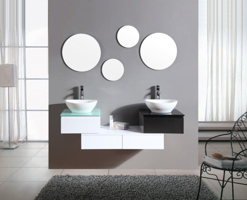 Arredo Bagno Bianco E Nero.Mobile Bagno Arredo Bagno Completo Pensile Bianco E Nero 150cm Doppio Lavabo Ita Ebay