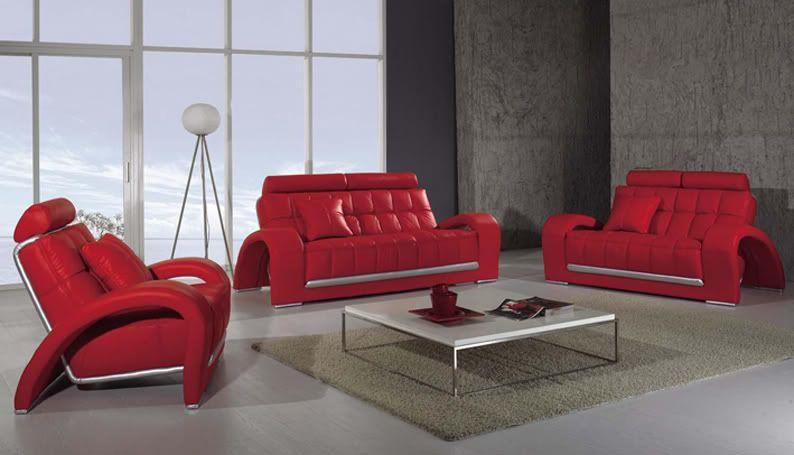 Divano In Pelle Design.Divano Salotto Pelle Rosso Moderno Sofa Americano Soggiorno
