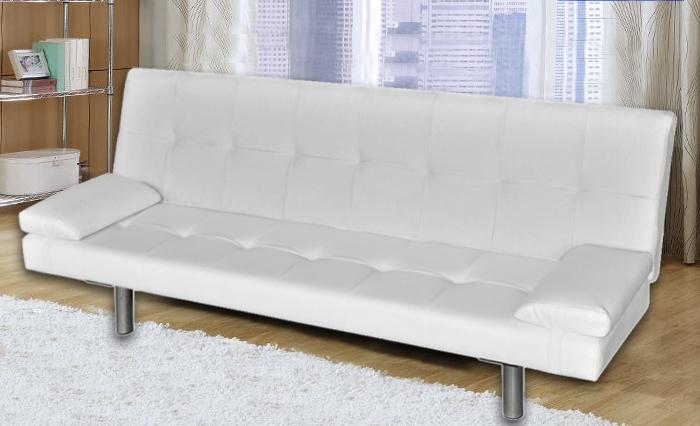 Divano Letto Apribile.Divano Letto Reclinabile 3 Posti Salotto Ecopelle Bianco Sofa