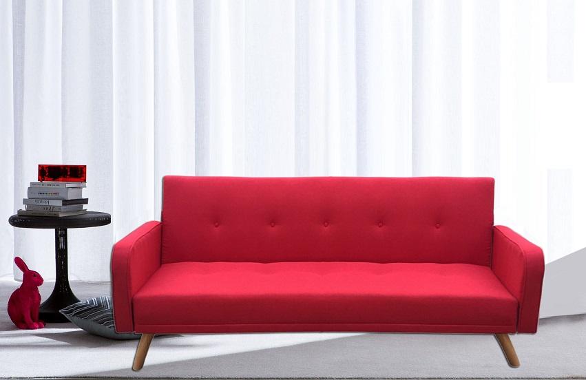 Divano Letto Rosso.Divano Letto Litz Reclinabile Microfibra Rosso Piedi Legno