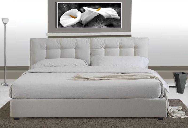 Letto Matrimoniale Moderno Bianco.Letto Matrimoniale Pelle Ecologica Con Rete Design Moderno